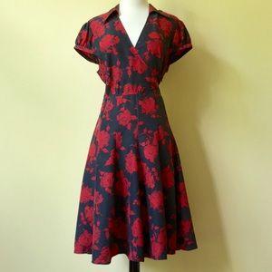 Moda International Silk V-Neck A-Line Rose Dress